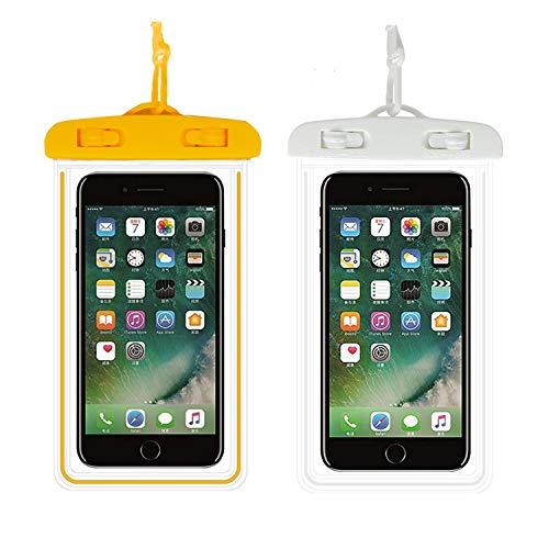Funda Impermeable Móvi-2 Unidades-IPX8 Doble Sellado- Funda Impermeable Universal,Funda Agua Movil, para iPhone 11 Pro XS MAX X 8 Plus,Galaxy S10+ S9 S8 ,Huawei y más. (Blanco + Amarillo)