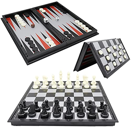 12.6' Magnetic Chess Checkers Backgammon 3 in 1 Set for Adults, Foldable Board and portable travel chess set