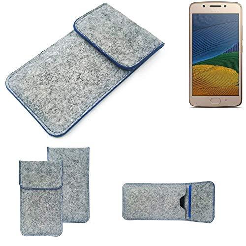 K-S-Trade Filz Schutz Hülle Für Lenovo Moto G5 Single-SIM Schutzhülle Filztasche Pouch Tasche Hülle Sleeve Handyhülle Filzhülle Hellgrau, Blauer Rand
