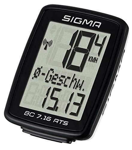 SIGMA SPORT Fahrrad Computer BC 7.16 ATS, 7 Funktionen, großes Display, kabelloser Fahrradtacho, wasserdicht, schwarz - 3