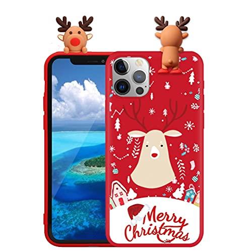 Pnakqil Funda para Xiaomi Mi 6X / A2 5,99', Silicona Cárcasa con 3D Doll Toy Muñeca Navidad Patrón, Suave TPU Slim Antigolpes Protettiva Carcasa con Dibujos Diseño, Ciervo de Navidad 1
