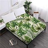 Hoja de cama de hojas de palmera tropical Sábana ajustable de plantas verdes de la selva Ropa de cama King Queen Funda de colchón de bolsillo profundo Decoración para el hogar Queen150cm * 205cm + 30c
