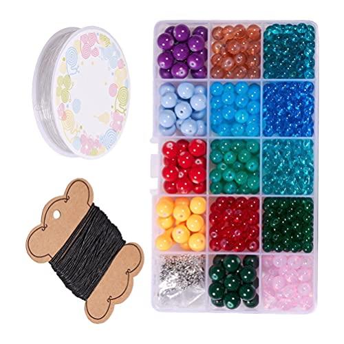 Happyyami Kit de Cuentas de Vidrio de 14 Colores Cuentas Espaciadoras Redondas Sueltas Conector para Joyería DIY Pulseras Accesorios para La Fabricación de Collares (Patrón Mixto)