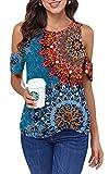 ANCAPELION Cold Shoulder - Camiseta de manga corta para mujer, elegante, informal, para verano, cuello redondo con nudos, Flor azul., S