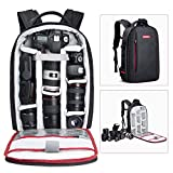 Beschoi DSLR Camera Backpack Waterproof Camera Bag for SLR/DSLR Camera, Lens and Accessories, Black (Large)
