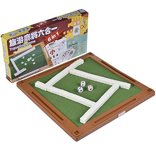 SUNBJ Portátiles Mini Chinese Chinese Mahjong Games, 6 en 1 Juego de Mesa de Viaje de Mahjong Conjunto con Mesa Plegable, Incluye Poker, Mahjong, Dados