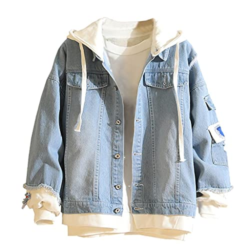 Lomelomme Herren Jeansjacke Blau Übergangsjacke Sweatjacke mit Kapuze Denim Hoodies Jacket Oversize Destroyed Jacke Winter Herbst Outwear