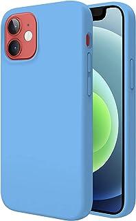 """TBOC Hoesje Compatibel met iPhone 12 [6.1""""]-Harde Hoesje [lichtblauw] Premium Vloeistof Siliconen[Zachte aanraking]Binnenv..."""