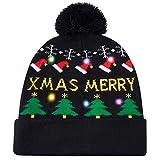 Juego de Bufanda con Gorro de Punto con luz LED, Luces de Colores Gorro de Navidad con LED y Calentador de Cuello elástico, suéter de Invierno Unisex, Conjunto de Bufanda con Gorro