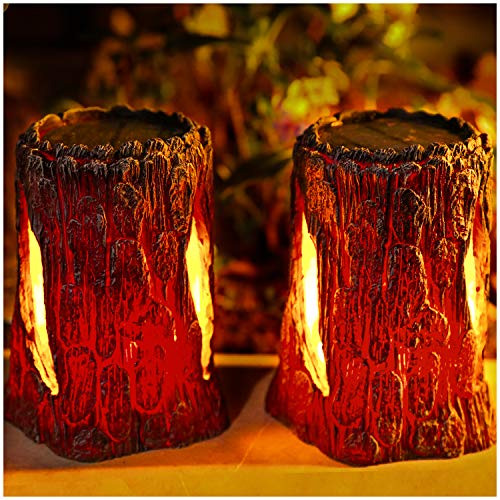 TONULAX Solar Lights Outdoor,Stump On Fire Torch Lights,Flickering Flame Lantern Lights,Solar Powered Landscape Decoration Lighting for Garden Patio Pathway Deck Yard Decor(2 Pack)