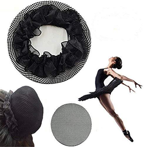 (Pack of 10) Women Ballet Dance Skating Bun Cover laciness Elastic Band Hair Nets for Dancer (10)