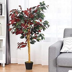 Silk Flower Arrangements BestComfort Artificial Ficus Silk Tree, Decorative Indoor House Fake Plant, Artificial Leafy Tree Faux Potted Indoor Floor Plant for Home Office Decor (4 Feet)