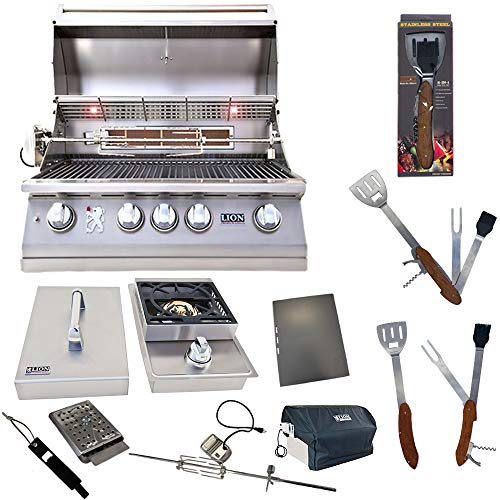 Lion Premium Grills 32-Inch Natural Gas Grill L75000 with Single Side Burner and 5 in 1 BBQ Tool Set Best of Backyard Gourmet Package Deal
