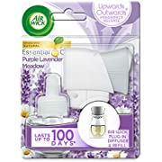 AirWick Essential Oils Air Freshener, Electrical Plug in Kit Gadget and Refill, Purple Lavender Meadow, Single unit, Lasts Total Up to 100 days