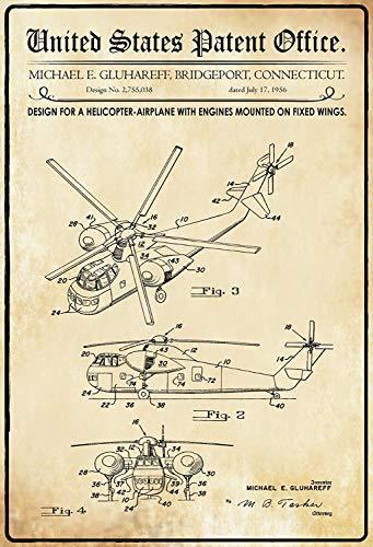 NWFS patent ontwerp voor een helikopter - vliegtuig blikken bord metalen bord metalen plaat plaat metaal tin teken gewelfd gelakt 20 x 30 cm
