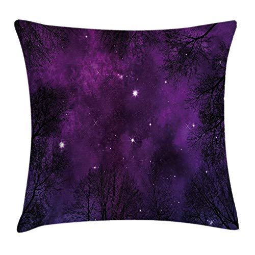 Yuanmeiju Star Funda de cojín de Almohada, Night Sky and Stars in Watercolor Paintbrush Style Blue Purple Calm Color Nursery Kids, Decorative Square Accent Funda de Almohada,Navy White 16x16 Inches