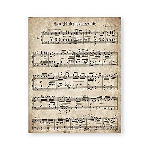 QZHSCYB Lo Schiaccianoci Vintage Spartiti Musicali Poster E Stampa Tchaikovsky Musica Classica per Pianoforte Tela Pittura Immagine della Parete Complementi Arredo Casa -20x28 Pollici Senza Cornice