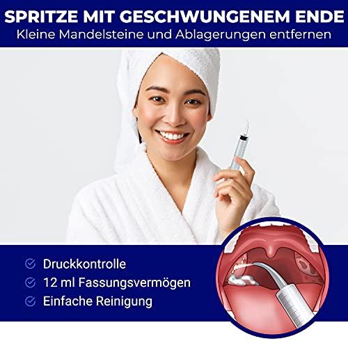 Tonsillensteinentferner-Set | Zur Entfernung und Verhinderung von Mandelsteinen | Gegen Mundgeruch | Lindert Halsschmerzen | Spritze, Tonsillenstein entferner mit LED-Licht und Zungenreiniger | ORALI - 5