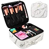Makeup Case Travel Makeup Bag Marble Cosmetic Bag Makeup Train Case for Women Brush Storage Box Organizer Holder with Adjustable Dividers (Marble Pattern)