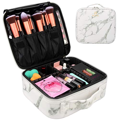 Makeup Case Travel Makeup Bag Marble Cosmetic Bag Makeup Train Case for Women Brush Storage Box Organizer Holder with Adjustable Dividers