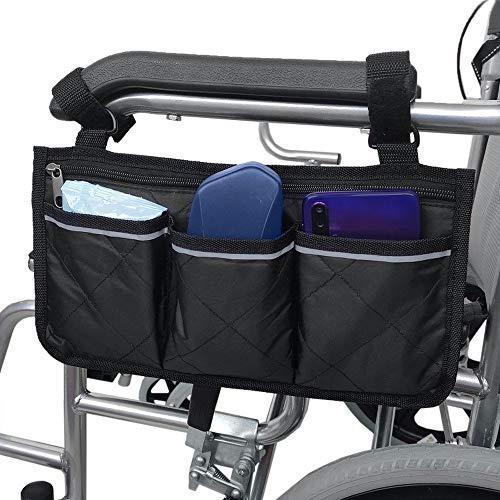 KOMANIC Rollstuhltasche, Mobilitätshilfe, Rollstuhl-Zubehörtasche, seitliche Mobilitätshilfe, hängende Griffhalterung, Aufbewahrungstasche (schwarz)