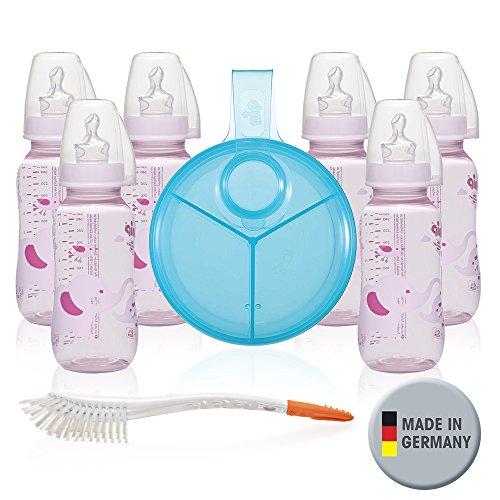 NIP PP Flaschen-Set Girl // Standardbabyflasche 250 ml // angenehm weiches PP // Sauger Silikon mit Anti-Kolik Ventil Größe Milch ab Geburt //inkl. Verschlußplättchen // Milchpulverportionier & Bürste