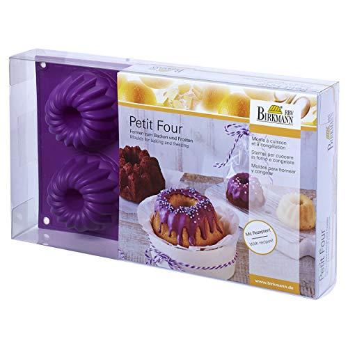 RBV Petit Four Gugelhupfform klein 6-fach auberginen, Maße: 30,5 x 18 x 3,6 cm