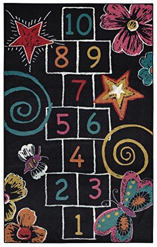 Mohawk Home 12380 402 060096 EC Aurora Hopscotch Chalk Colorful Printed Contemporary Kids Area Rug,5'x8',Black