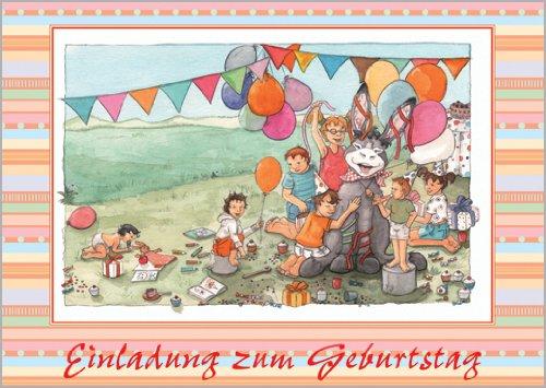 Unbekannt im 5er Set: Niedliche Kindergeburstags Einladungskarte mit süßem Esel: Einladung zum Geburtstag