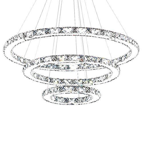 HONGLONG 72W LED Dimmbar Kristall Design Hängelampe DREI Ringe Deckenlampe Pendelleuchte Kreative Kronleuchter Lüster (72W Dimmbar) [Energieklasse A++]