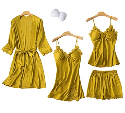 Chongmu Mujer 4pcs Seda Pyjama Sets Top Ropa de Noche Raso Pijama Set Pantalones Cortos Camisón de...