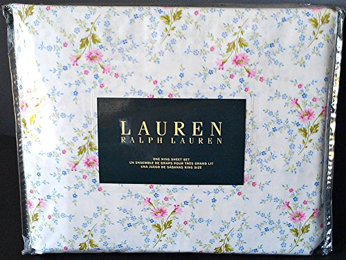 Ralph Lauren 4 Pc KING Floral French Country Sheet Set Ivory Pink Blue Green