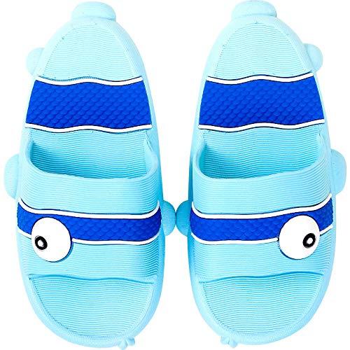 Nonebranded M?dchen Schuhpantoffeln, Sommer Jungen Hausschuhe, Baby Soft Bottom rutschfeste Sandalen und Hausschuhe-Blue_25-26 Unterl?nge ca. 18