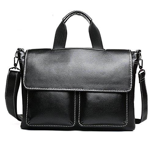 NYDZDM schoudertas voor mannen, vintage, leer, grote schooltas, 14 inch, laptop, tablet, handtas