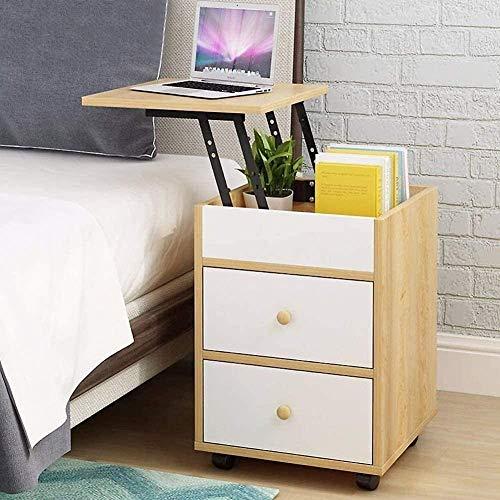 H-CAR Anhebbarer Nachttisch Schlafzimmer Bewegliches Sofa Beistelltisch Nachttisch Organizer Holzschrank Ecktisch mit 2 Schubladen (Farbe: B, Größe: 40x40x70cm)