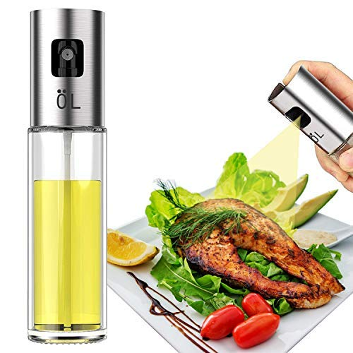 LAO XUE Olive Oil Sprayer Food-Grade Glass Bottle Dispenser for Cooking, BBQ, Salad, Kitchen Baking, Roasting, Frying