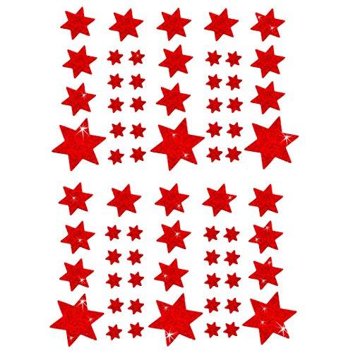 Oblique-Unique® Weihnachts Sterne Sticker Aufkleber - Deko Weihnachten - Farbe wählbar (Rot)
