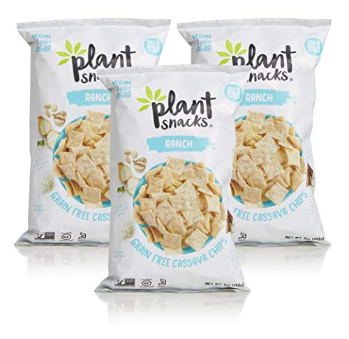 Plant Snacks Ranch Cassava Root Chips, Vegan, Big-8 Allergen Free, Non-GMO Project Verified, Gluten Free, Grain Free, No Added Sugar, 5 oz Bags, Pack of 3