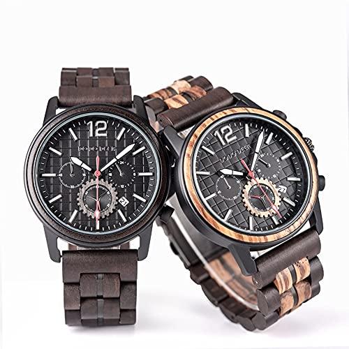 yuyan 2pcs Pareja Relojes, Hecho a Mano por Sandalwood Diseñadores, Importados de Japón, Relojes de Cuarzo, Sano, Natural, Elementos de Moda, Relojes de Madera for Hombres