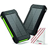 1-Pack Solar Phone Charger 20000mAh Portable Power Bank Waterproof Battery Packs with Dual Ports, Compass, Flashlight for Camping Solar Panel for Smartphones,GoPro Camera,GPS and Other Devices