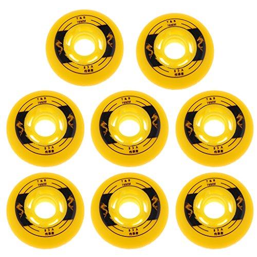 MagiDeal - Rollen für Inline-Skates in Gelb, Größe 76mm