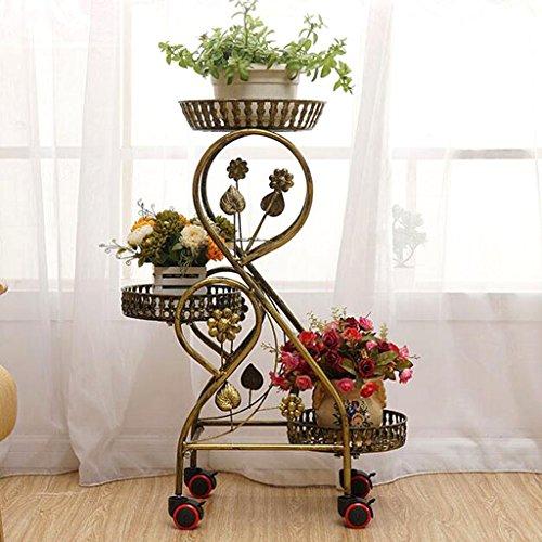 Blumen-Stand- / Pflanzen-Gestell Weinlese-Eisen-Blumen-Stand 3-Plant Blumentopf-Gestell Garten-Pflanzen-Regal Innenwohnzimmer-Balkon-Blumen-Topf-Zahnstangen Rad-Stand ( Color : Bronze )