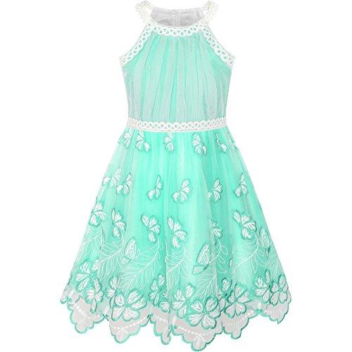 Sunboree Mädchen Kleid Türkis Schmetterling Bestickte Halfter Kleiden Einschulung Schulanfang Osterfest Kleid Gr. 134