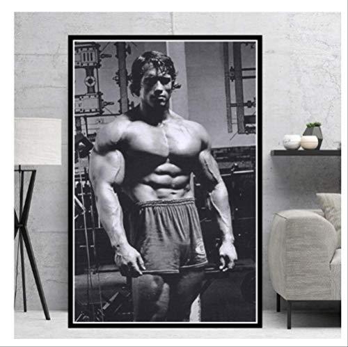 DPFRY Leinwandbild Poster Und Drucke Arnold Schwarzenegger Bodybuilding Motivationsplakat Wandkunst Bild Für Zuhause Dekorative Ga50T 40X60 cm Ohne Rahmen