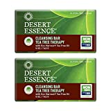 Desert Essence Cleansing Bar Soap Tea Tree Therapy - Palm Oil, Jojoba & Aloe Soothe & Soften Face & Body - Sensitive Skin Friendly - Vegan, Non-GMO, Cruelty-Free, Sulfate & SLS Free - 5oz (Pack of 2)