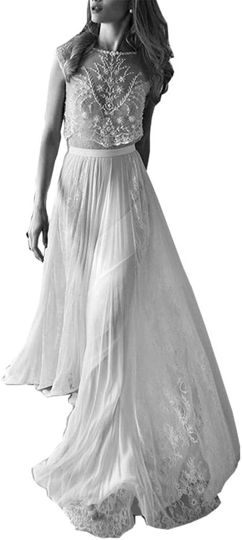 Fanciest Women's 2016 Boho Wedding Dresses Beach Two Pieces Wedding Dress White