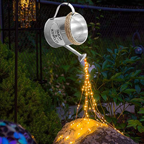 HeiHeiDa Star Shower Garden Art Licht Dekoration - Elefant Kessel, Gießkanne, Batteriebetrieben LED, Magischer Garten Kunst, Gartenskulpturen & Statuen, Lichterketten für den Außenbereich