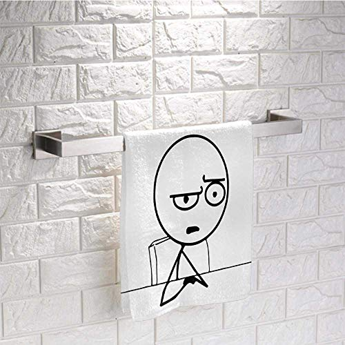 """prunushome Washcloth Face Towels Humor Luxury Hotel Towel So What Guy Meme Face Best Avatar WTF Icon Hipster Mascot Snobby Sign Picture for Bath, Hand, Face, Gym and Spa Black and White (20""""x20"""")"""