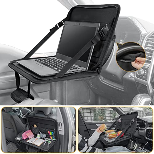 JOYTUTUS 3 in 1 Steering Wheel Eating Tray, Car Back Seat Laptop Desk, Multifunctional Car Office Bag, Car Work Table for Writing, Car Organizer for Kids, Commuters, Family