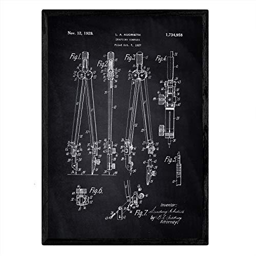 Nacnic Poster con patente de Compas. Lámina con diseño de